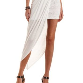 Jersey Knit & Lace Layered Skirt by Charlotte Russe - White