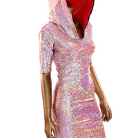 Silver on Red Shattered Glass Holographic Darted Hoodie Dress