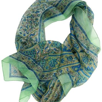 Women's Silk Scarves - Sea Green Scarf - Floral and Paisley Design - Perfect Gifts for Loved Ones
