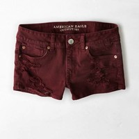 AEO Women's Destroyed Denim Shortie (Merlot)