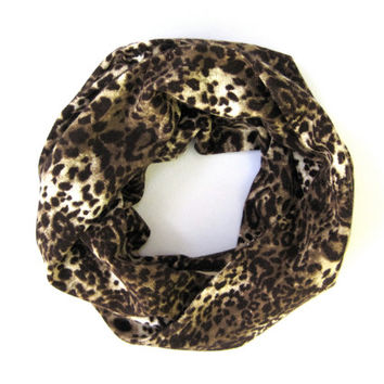 Kids Leopard Scarf Childs Infinity Scarf Brown Camel Cream Double Loop Scarf Girls Scarf Ready to Ship