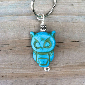 Turquoise Owl Keychain by The Wild Willows