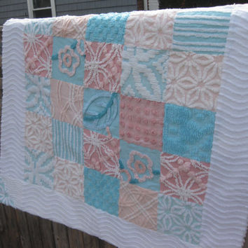 Vintage chenille patchwork baby quilt pink teal white shabby chic FULL CHENILLE BACK
