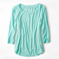 AEO Soft & Sexy Bright Baseball T-Shirt, Aqua | American Eagle Outfitters