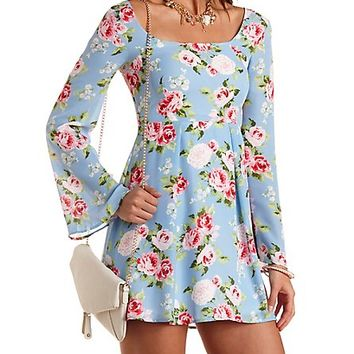 Bell Sleeve Floral Babydoll Dress by Charlotte Russe - Lt Blue Combo