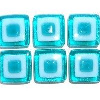 Aqua Turquoise Glass Kitchen Knobs Custom by UneekGlassFusions