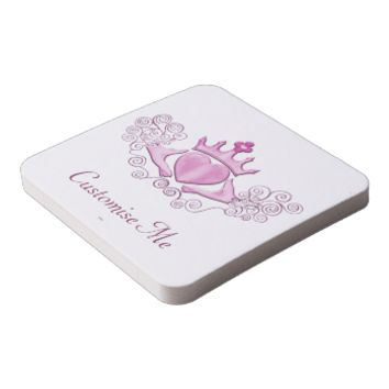The Claddagh (Pink) Square Paper Coaster