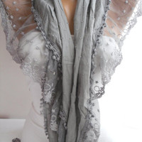 Gray Shawl Scarf Cotton Shawl Scarf  Cowl headband with Lace Edge-