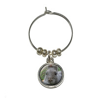 Bunny Rabbit Gray Easter Wine Glass Charm - No. 1