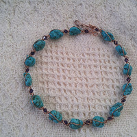 Copper and Turquoise wire wrap choker with beautiful  dark purple Swarovski crystals.