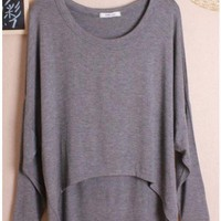 Women Autumn Euro Style Simple Loose Bat-wing Sleeve Dark Grey Cotton Shirt One Size@WH0036dg $8.37 only in eFexcity.com.