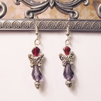 Beautiful Angel Earrings with Garnet and Swarovski Crystals