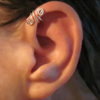No Piercing Sterling Silver Handmade Helix Cuff Ear Cuff &quot;Spiral Up&quot; 1 Cuff