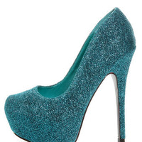 Mystic 1 Blue Glitter Fabric Platform Pumps - $46.00