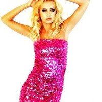Strapless Pink Sequin Dress, Prom Dress, Party Dress