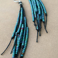 Vegan Feather Glass and Hemp Earrings