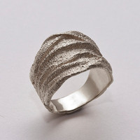 Golden Rag No.3 - Sterling Silver Ring , Unisex Ring , Wedding Ring , Wedding Band , Mens Ring