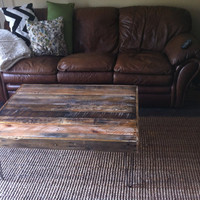 Reclaimed Barnwood Wood Coffee Table with steel hairpin legs-Upcycled and modern-upcycled recycled-rustic