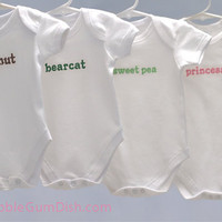Custom Name Baby Onesuit, Embroidered Nickname Word Onesuit
