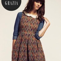 Dahlia Daphne Multi-coloured Brocade Pleated Dress