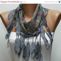 Scarf , Gray Cotton Scarf Woman Cowl