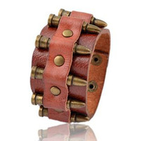 Heavy metal punk Leather wide bracelet for men and women Personalized punk bullet casings bracelet.Special Gift...83g
