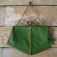 Vintage Green Retro Child's Clutch Purse 1940'ish