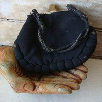 Vintage Black  Retro Child's Purse 1940'ish Adorable