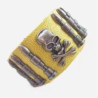 Bangle skull bracelet leather bracelet men bracelet made of yellow leather and metal skull wrist bracelet