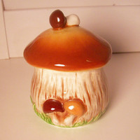 Vintage Ceramic Mushroom Sugar Bowl with Lid