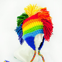 Rainbow Mohawk Ear Flap Hat-SALE Adult size