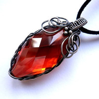 Silver bloody pendant with carmine Swarovski crystal marquise in red magma vulcano, rich edgy braid for a strong woman