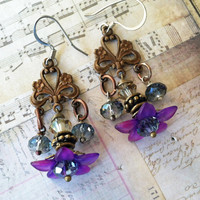 "PURPLE -Vintage Lucite Flower Earrings -""WHISPERING MEADOWS"""