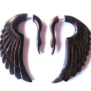 Stunning brown wooden swan fake gauge earrings by shayisa on Etsy