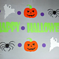 Happy Halloween Banner with Ghosts, Spiders, &amp; Jack-o-Lanterns