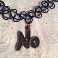 "90s Grunge Black Tattoo Choker with Bronze ""No"" Charm"