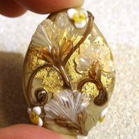 "Lampwork Bead - Pendant Focal- ""Copper Canyon"" Floral Bead SRA"