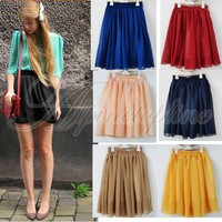 Elegant Women Empire Waist Chiffon Pleated Summer Skirt Lovely Mini Dance Dress