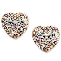 Juicy Couture Earrings, Pink Heart Pave Stud Earrings - Fashion Jewelry - Jewelry &amp; Watches - Macy&#x27;s