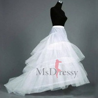 White Gauze 3 Layers Sweep Train Bridal Petticoat at Msdressy
