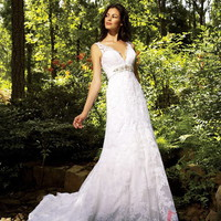 A-line Straps Court Train Lace Wedding Dress with Rhinestone at Msdressy