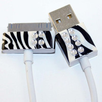 White Apple iPhone iPad iPod USB Cable Charger with Black and White Zebra Print