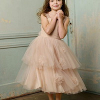 Square Ball Gown Tea Length Ruffles Champagne Tulle Flower Girl Dress (FLGL0189) at Dresseshop