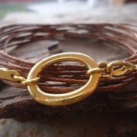 GOLD RING wrap bracelet  from strips