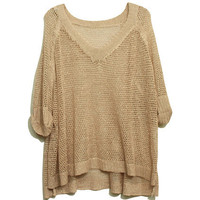 ROMWE | Hollow-Carved Twinkle Pearly-Lustre Nude-Pink Jumper, The Latest Street Fashion