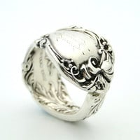 Bold Floral Silver Spoon Ring SIZE 1112 by BlackSparrowVintage