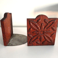 Vintage Wood and Metal Book Ends Red Oak and Tin Rustic Decor