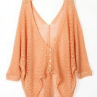 Asymmetric Long Sleeves Orange Cardigan - Designer Shoes|Bqueenshoes.com