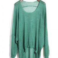 Asymmetric Round Neck Green Sweater - Designer Shoes|Bqueenshoes.com