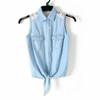 Blue Denim Vest with Lace - Designer Shoes|Bqueenshoes.com
